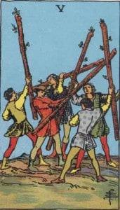 Tarot karte - Petica štapova