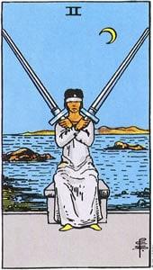 Tarot karta - Dvojka mačeva