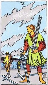 Tarot karte – Petica mačeva
