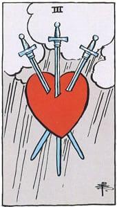Tarot karte – Trica mačeva