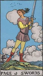 Tarot karta – Paž mačeva